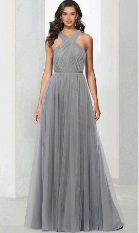 Flawless criss cross halter high neck floor length a line tulle prom formal evening Dress Gown