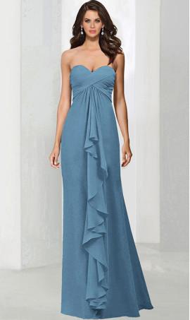 Chic strapless sweetheart criss-cross ruching floor length chiffon bridesmaid formal Dress Gown