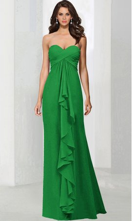 Chic strapless sweetheart criss-cross ruching floor length chiffon bridesmaid formal Dress Gown