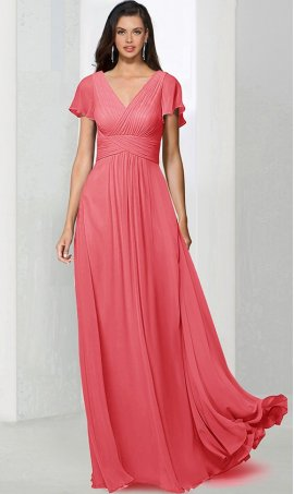 Chic sensational v-neck flutter sleeves floor length a line chiffon bridesmaid prom formal evening Dress Gown