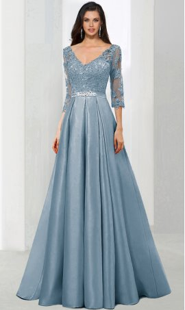 Enchanting deep v neckline beaded lace applique long sleeve a line satin ball Dress Gown prom formal evening Dress Gown