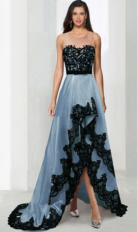 Chic stellar two tone color block black lace applique satin high low hi lo prom formal evening Dress Gown