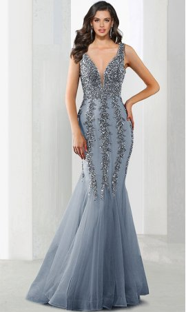 Chic shimmering beaded plunging v neckline open back mermaid prom formal evening Dress Gown