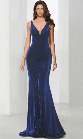 Chic backless deep v neck open back metallic glitter mermaid prom formal evening Dress Gown