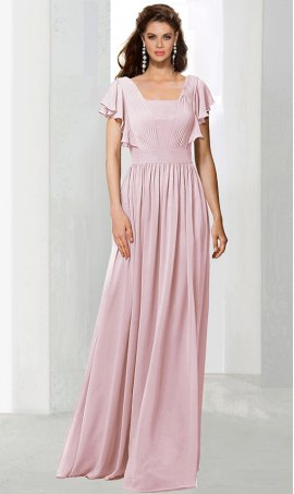 dramaticruffled flutter sleeve floor length chiffon bridesmaid prom formal evening Dress Gown