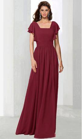 dramaticruffled flutter sleeve floor length chiffon bridesmaid prom formal evening Dress Gown
