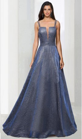 Chic sharp V-neck open back metallic glitter a line ball Dress Gown prom formal evening Dress Gown