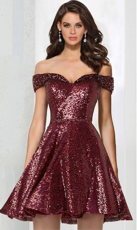 Enchanting beaded off the shoulder sequined a line sequin short prom homecoming cocktail party Dress Gown