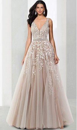 Chic beaded lace applique plunging v-neckline a line tulle ball Dress Gown prom formal evening Dress Gown