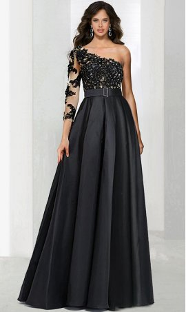 Chic sophisticated beaded lace applique one shoulder single long sleeve a line taffeta ball Dress Gown prom formal evening Dress Gown