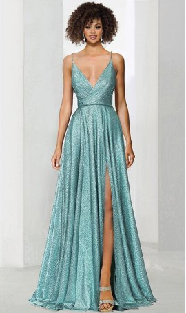 Chic Impressive ruched bodice sleeveless v-neck glitter metallic jersey high leg slit formal evening Dress Gown