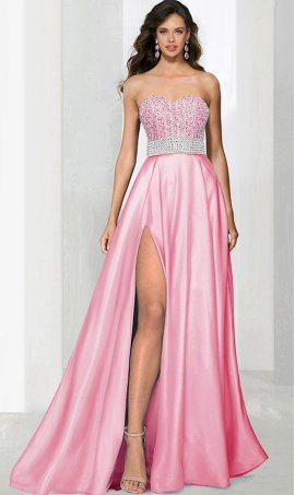 Chic glamorous beaded strapless sweetheart high thigh slit satin ball Dress Gown formal evening Prom Formal Evening Dress Gown