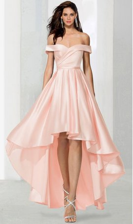 Charming off the shoulder sweeetheart high low hi lo satin cocktail prom formal evening party Dress Gown