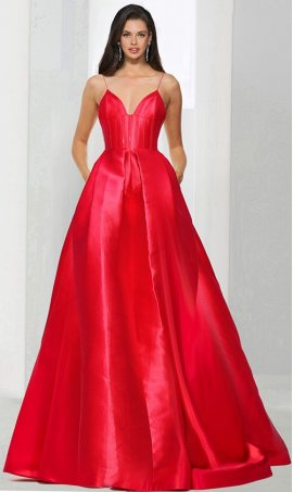Chic regal deep v neck spaghetti straps a line satin ball Dress Gown