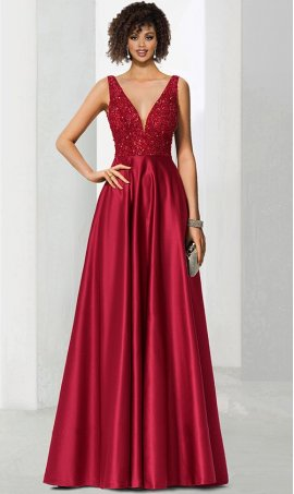 Fabulous plunging v neck beaded bodice satin A-line ball Dress Gown prom formal eveninig pageant Dress Gown