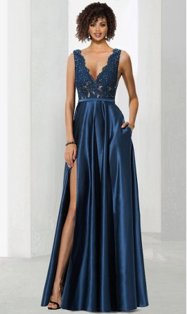 Chic fashionable beaded lace applique plunging v neck open back high thigh slit a line satin ball Dress Gown prom formal evening pagent Dress Gown
