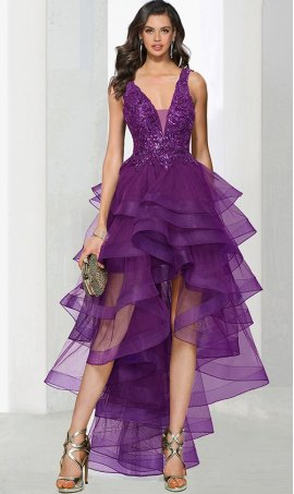 Charming deep v neck lace applique ruffled layers tiered tulle high low hi lo prom formal evening pageant Dress Gown