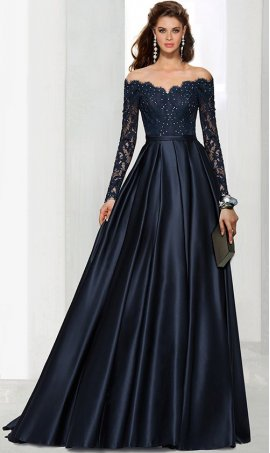 Flawless off the shoulder long sleeves beaded lace applique a line satin ball Dress Gown prom formal evening Dress Gown
