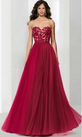 Chic trendy beaded lace applique strapless sweetheart a line tulle ball Dress Gown prom formal pageant Dress Gown