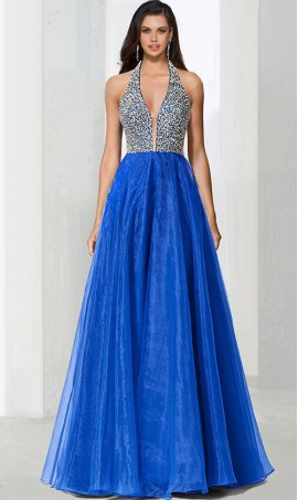 Charming beaded bodice plunging v neck a line organza ball Dress Gown prom formal evening pageant Dress Gown