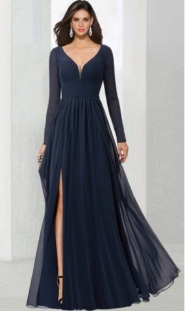 Charming v neck long sleeve high thigh slit a line chiffon prom mothers formal evening Dress Gown