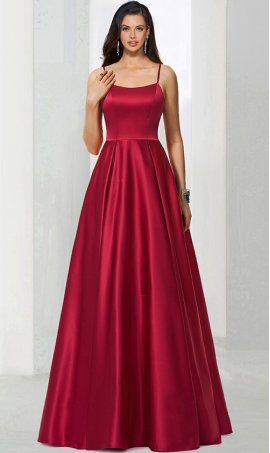 Fabulous scoop neckline spaghetti straps a line satin ball Dress Gown prom formal evening pegeant Dress Gown