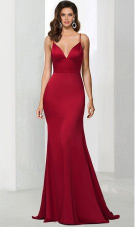 Chic royalty plunging v-cut spaghetti straps floor length mermaid satin prom formal evening pageant Dress Gown