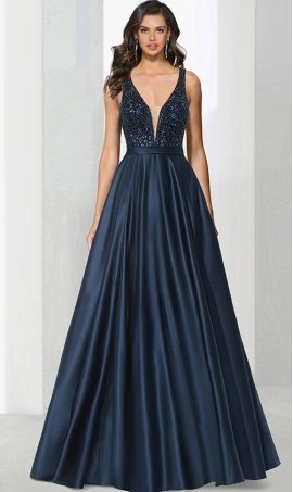 Chic sultry plunging v neck beaded bodice a line satin ball Dress Gown prom formal evening Dress Gown