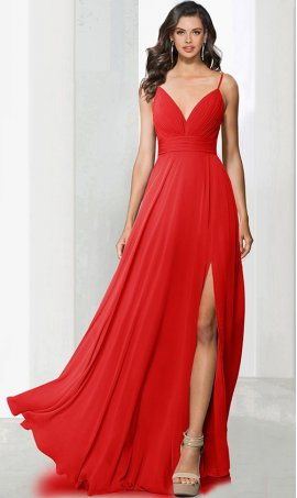 Charming v neck spaghetti straps ruched a line high thigh slit bridesmaid chiffon prom formal evening Dress Gown