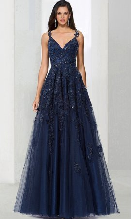 Charming deep v neck beaded lace applique a line tulle ball Dress Gown prom formal evening Dress Gown