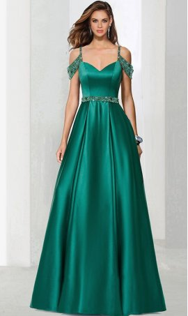Chic glamorous beaded cold shoulder a line satin ball prom formal evening pageant Dress Gown