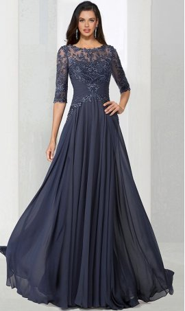 Chic glamorous lace applique round neck three quarter length sleeves chiffon mother prom formal evening Dress Gown