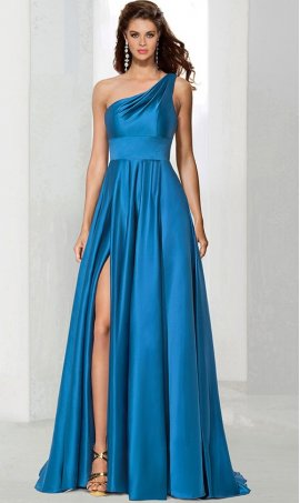 Chic glamorous ruched single one shoulder high thigh slit satin prom formal evening pageant Dress Gown