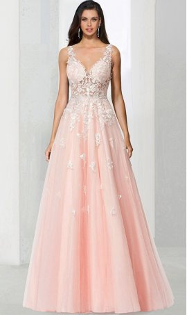 elegant sheer illusion lace applique a line tulle prom formal evening pageant Dress Gown