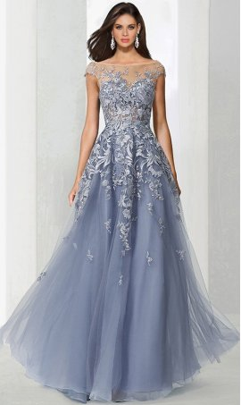Chic sophisticated lace applique sheer illusion high neck a line tulle ball prom formal evening pageant Dress Gown