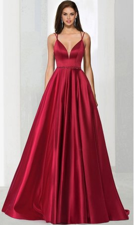Gorgeous v neck beaded waist a line satin ball Dress Gown prom formal evening Dress Gown