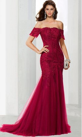 elegant off the shoulder short sleeves lace tulle mermaid prom formal evening pageant Dress Gown