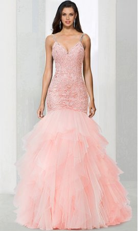 Chic stunning spaghetti straps v neck lace applique drop wasit tiered tulle mermaid prom formal evening pageant Dress Gown