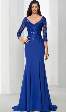 dramaticv neck lace applique three quarter length sleeves jersey mermaid prom formal evening pageant Dress Gown