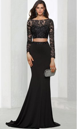 Chic beaded lace applique sheer illusion long sleeves crop top two piece jersey mermaid prom formal evening Dress Gown