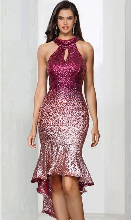 Chic off the shoulder keyhole halter neckline ombre sequin knee length mermaid cocktail prom party Dress Gown