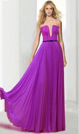 Enchanting plunging neckline strapless pleated chiffon Dress Gown
