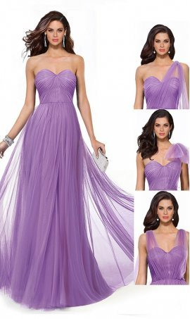 Flawless shirred bodice convertible tulle column prom formal evening bridesmaid Dress Gown