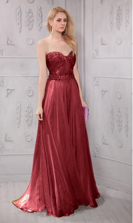 Chic aluring strapless Sweetheart Sweep Brush Train Chiffon Evening Dress Gown