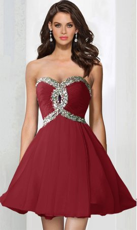 Chic Embellished Keyhole Front Strapless Sweetheart Short Dress Gown for Prom