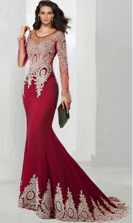 Chic Illusion neck jersey beaded long sleeve lace applique floor length mermaid Dress Gown