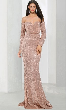 Dazzling knit long sleeve off the shoulder sweetheart mermaid sequin prom formal evening Dress Gown