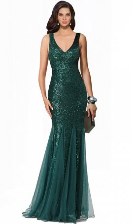 Chic V Neck sequins sleeveless floor length mermaid formal Dress Gown Prom Formal Evening Dress Gown