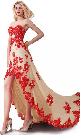 Fabulous Strapless Sweetheart Embellished Beaded Lace Applique Hi Lo High Low Prom Formal Evening Dress Gown