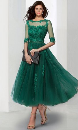 Flawless knee length lace applique three quarter sleeves tulle prom prom formal evening Dress Gown